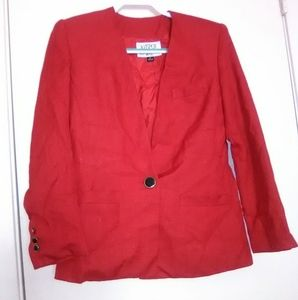 GUC KASPER for ASL GORGEOUS RED ONE BUTTON BLAZER